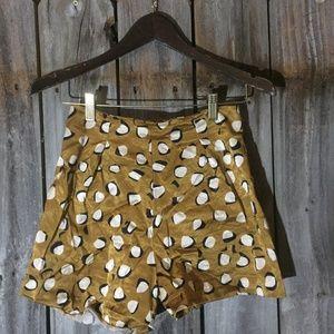 River Island Gold High Waist Tribal Silky Shorts